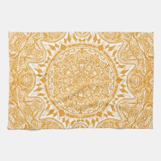 Orange mandala pattern kitchen towel
