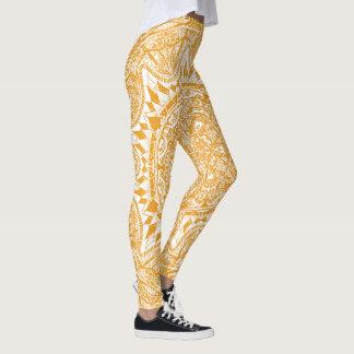 Orange mandala pattern leggings