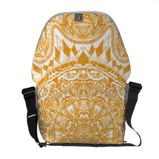 Orange mandala pattern messenger bags