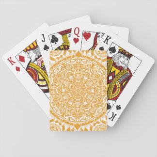 Orange mandala pattern playing cards