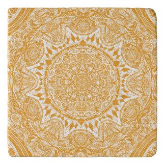 Orange mandala pattern trivet
