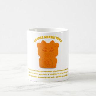 Orange Maneki Neko Both Paws Mug