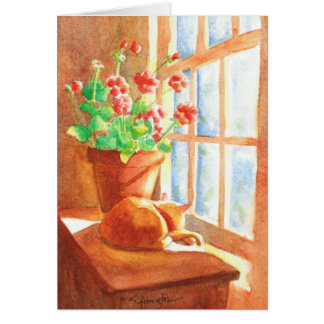 Orange Manx with Geraniums Card