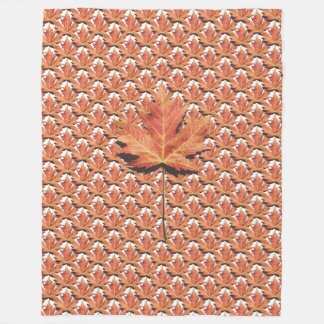 Orange Maple Leaf Fleece Blanket