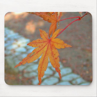 Orange Maple Leaves Mousepad
