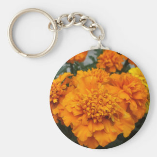 Orange  Marigold Basic Round Button Keychain