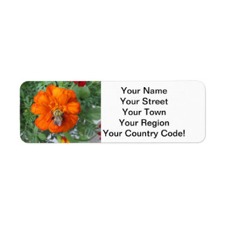 Orange Marigold Bee Flower Return Address Label