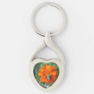 Orange Marigold Bee Flower Silver-Colored Twisted Heart Keychain