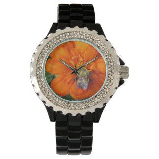 Orange Marigold Bee Flower Wristwatches