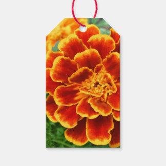 Orange Marigold Flower Custom Text Gift Tags