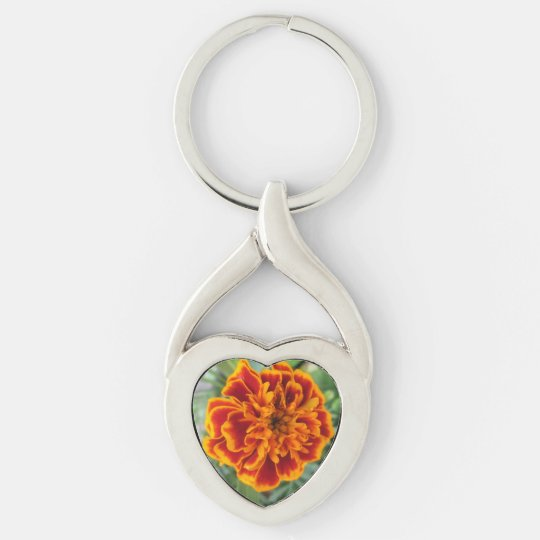 Orange Marigold Flower Silver-Colored Twisted Heart Keychain