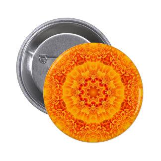 Orange Marigold Mandala 2 Inch Round Button