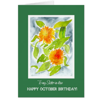 Orange Marigolds Sister-in-law's October Birthday Card