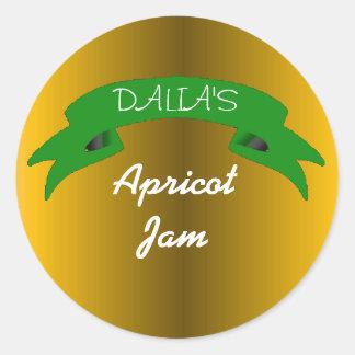 Orange marmalade apricot jam label round sticker