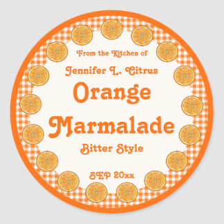 Orange Marmalade on Gingham Round Sticker