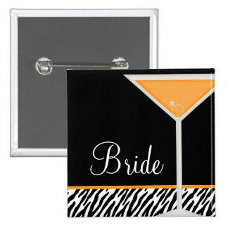 Orange Martini and Zebra Pattern 2 Inch Square Button
