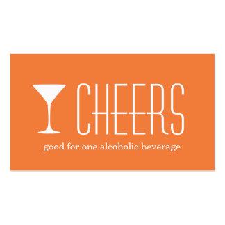 Orange martini corporate logo event drink ticket business card