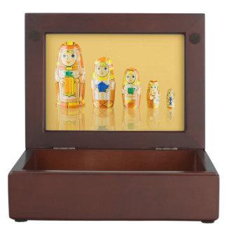 Orange Matryoshka Russian Dolls Keepsake Box