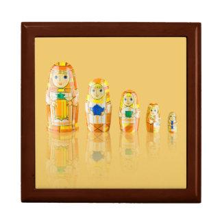 Orange Matryoshka Russian Dolls Trinket Box