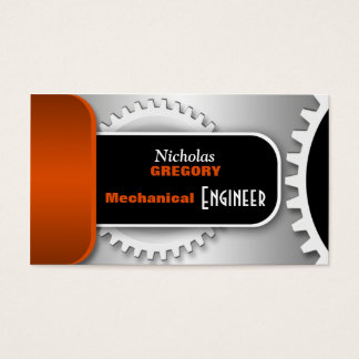 Orange Mechanical Engineer Gear Business Cards