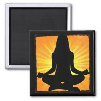 Orange Meditation Yoga women meditating Magnet