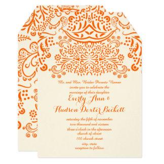 Orange Mehndi Lace Bohemian Wedding Invitation