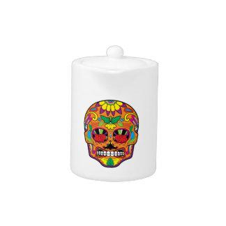 Orange Mexican Tattoo Sugar Skull Red Rose Eyes