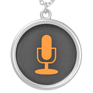 Orange Microphone Silver Plated Necklace