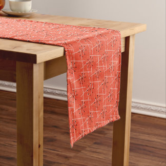 Orange Mid-Century Modern | Black Starbursts Short Table Runner