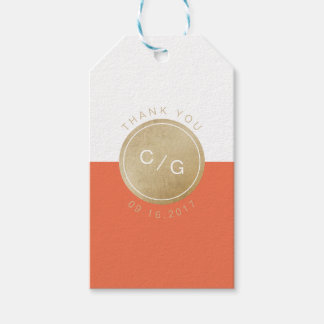Orange minimalist modern wedding monogram thanks pack of gift tags