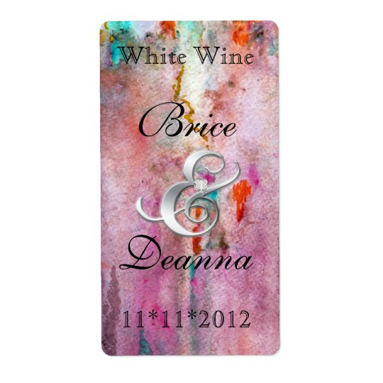 Orange Mist Wedding Wine Label