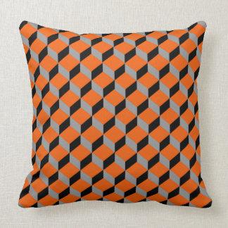 Orange Mix Bold Geometric Modern Patterned Throw Pillow
