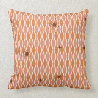 Orange Mod Hourglass & Sputniks Pillow