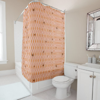Orange Mod Hourglass & Sputniks Shower Curtain