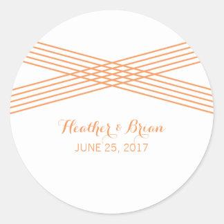 Orange Modern Deco Wedding Stickers
