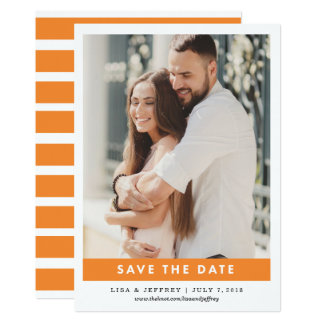 Orange | Modern Love Color Photo Save the Date Card
