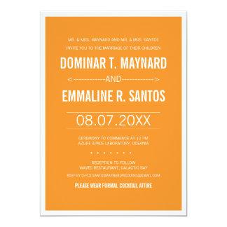 Orange Modern Minimalist Wedding Invitation