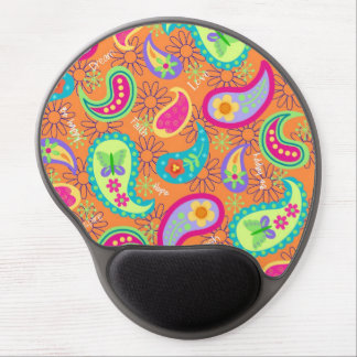 Orange Modern Paisley Whimsy Pattern Gel Mouse Pad
