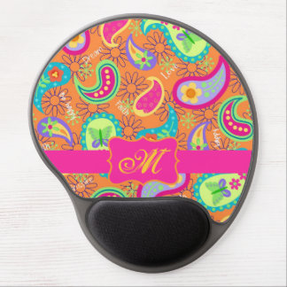 Orange Modern Paisley Whimsy Pattern Gel Mouse Pad