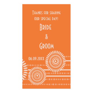 Orange Modern Wedding Favor Gift Tags Thank You Business Card