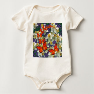 Orange Monarch Butterflies Narcissus Art Baby Bodysuit