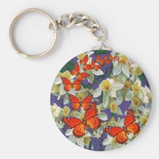 Orange Monarch Butterflies Narcissus Art Basic Round Button Keychain