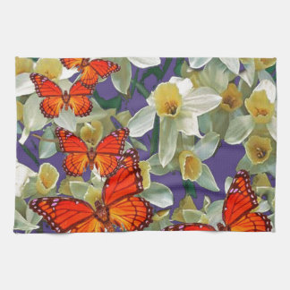 Orange Monarch Butterflies Narcissus Art Kitchen Towel