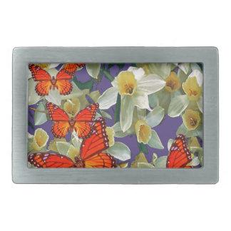 Orange Monarch Butterflies Narcissus Art Rectangular Belt Buckle