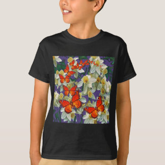 Orange Monarch Butterflies Narcissus Art T-Shirt
