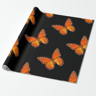ORANGE MONARCH BUTTERFLY ON BLACK COLOR WRAPPING PAPER