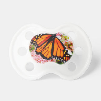 Orange Monarch on pink flowers Baby Pacifier