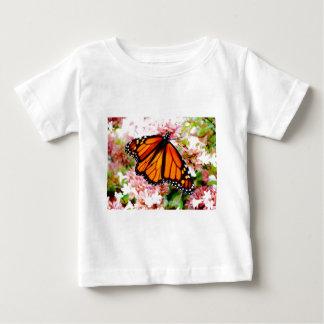 Orange Monarch on pink flowers Baby T-Shirt