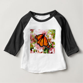 Orange Monarch on pink flowers Baby T-Shirt