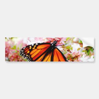 Orange Monarch on pink flowers Bumper Sticker